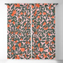Oranges and Leaves Pattern - Pink Blackout Curtain
