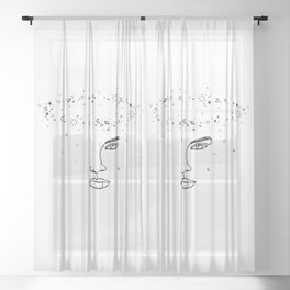 Face with space crown - Joy Halo Sheer Curtain