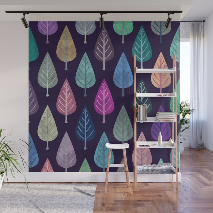 Watercolor Forest Pattern IV Wall Mural