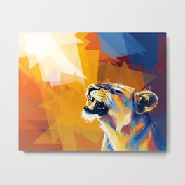 In the Sunlight - Lion portrait, big cat painting, animal digital art Metal Print