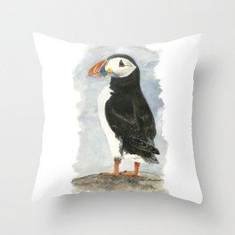Atlantic Puffin - Watercolor Throw Pillow