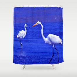 ROYAL BLUE GARZA BIRD Shower Curtain