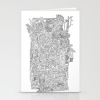 blueprint Stationery Cards featuring Home Blueprint by Max Bayarsky