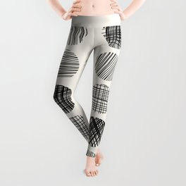 Abstract Line Work Circles in Black and Cream Leggings