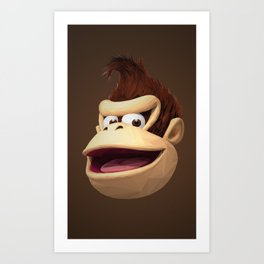 Triangles Video Games Heroes - Donkey Kong Art Print