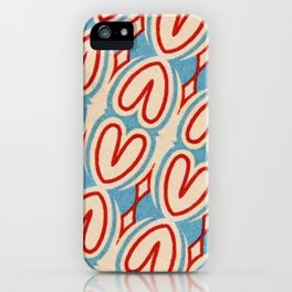 Red Hearts Vintage Blue Geometric Design Shapes iPhone Case