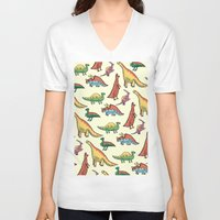 dinosaurs V-neck T-shirts featuring DINOSAURS! by Sonny Ross