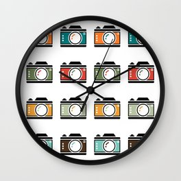 Colourful Camera Icons Wall Clock