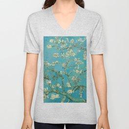 Almond Blossoms Vincent van Gogh Blue Floral Unisex V-Neck
