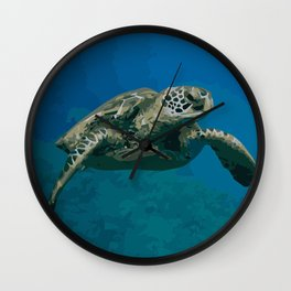 Sea Turtle Ocean blue Water Wall Clock