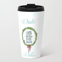 Winter wishes house and boxwood holiday wreath Travel Mug