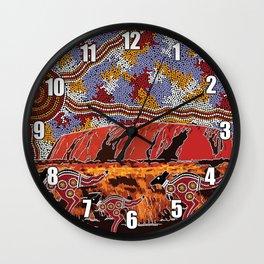 Uluru (Ayers Rock) Authentic Aboriginal Art Wall Clock