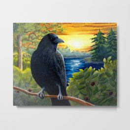 Bird Crow Raven Sunset Metal Print