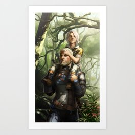 Geralt and Ciri Art Print