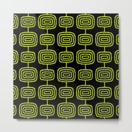 Mid Century Modern Atomic Rings Pattern Black and Chartreuse Metal Print