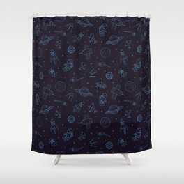 Blue Space Pattern Shower Curtain