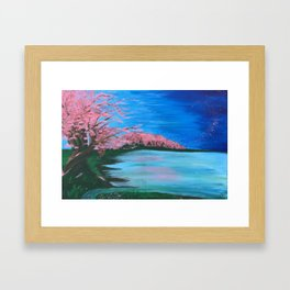 Cherry Blossom Lake Framed Art Print