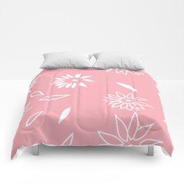 Powder Pink Floral Shapes 2 Comforters