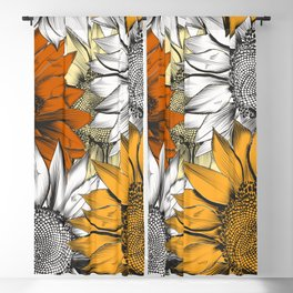 Beautiful pattern from hand drawn sunflowers Blackout Curtain