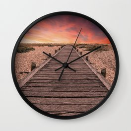 Sunset at Dungeness Wall Clock