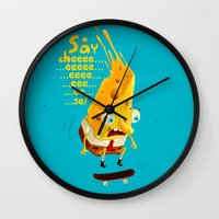 cheese Wall Clocks featuring Say cheese by Lime