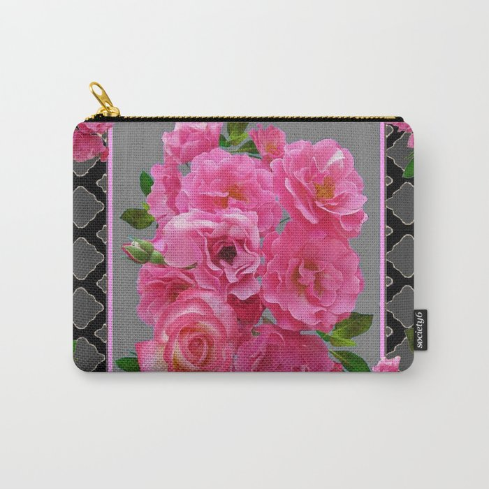PINK ON PINK ROSE PATTERN GREY ART Carry-All Pouch