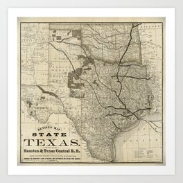 Old Map of Texas 1876 Vintage Wall map Restoration Hardware Style Map Art Print