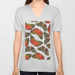 Butterfly Pattern Brown Red Orange Unisex V-Neck