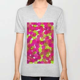 Watercolor Circles - Pink & Lime Green Unisex V-Neck