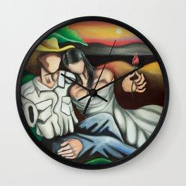 Amantes en el campo (Lovers in the country) Cuban art by Miguez Wall Clock
