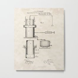 Apparatus for Forcing Beer from Casks Vintage Patent Hand Drawing Metal Print