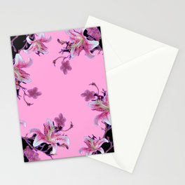 ORIENTAL STYLE PINK-BLACK FLORALS Stationery Cards