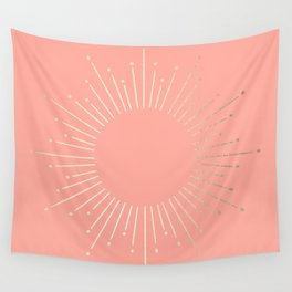 Simply Sunburst in White Gold Sands on Salmon Pink Wall Tapestry