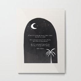 Words of Submission to Almighty God by Rabia of Basra Black & White Minimalist Night Sky Moon Metal Print