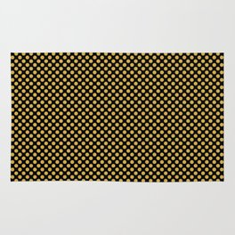 Black and Spicy Mustard Polka Dots Rug