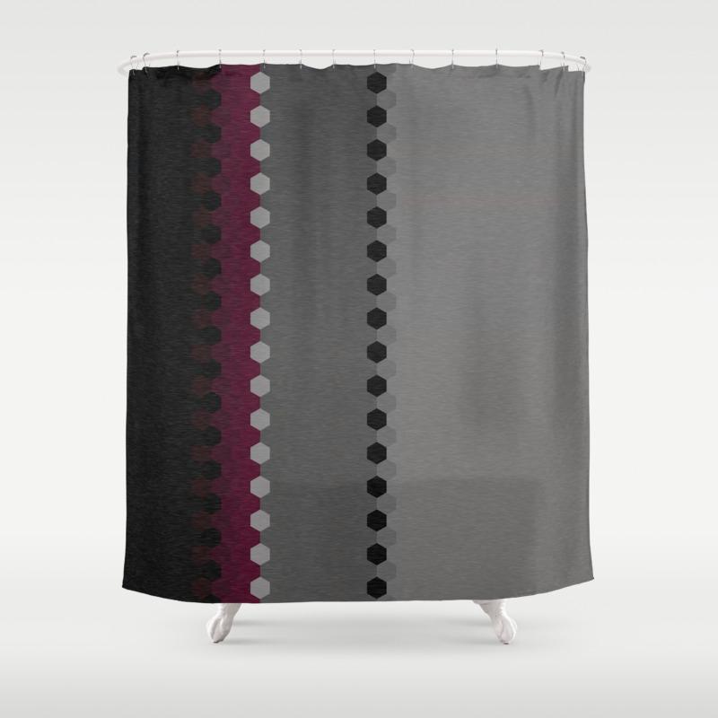 Burgundy And Black Curtains.Modern Burgundy Grey Black Stripe Dot Pattern Shower Curtain