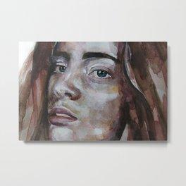 art work, watercolor portrait, beautiful face model with green eyes, original Metal Print