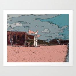 BEACH AND A SURF Art Print