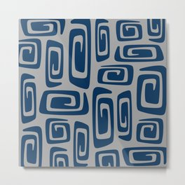 Mid Century Modern Cosmic Abstract 514 Blue and Gray Metal Print