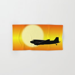 DC-3 passing sun Hand & Bath Towel