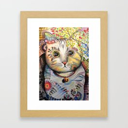 Smokey ... abstract cat art animal pet painting Framed Art Print