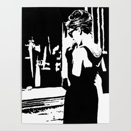 Audrey Hepburn in movie Breakfast at Tiffany's. Black and white portrait, monochrome stencil art Poster
