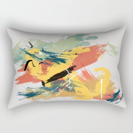 Intuitive Conversations, Abstract Mid Century Colors Rectangular Pillow