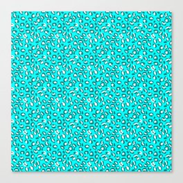 Ocean Blue and Blue Green Leopard Spot Pattern Canvas Print