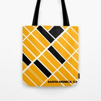 santa monica Tote Bags featuring Santa Monica Ca. by Studio Tesouro