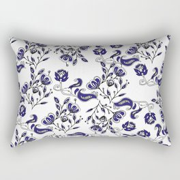 Hand painted navy blue white watercolor chic floral Rectangular Pillow