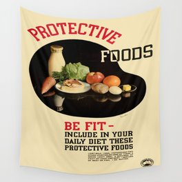 Vintage poster - Protective Foods Wall Tapestry
