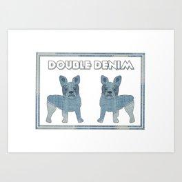 Double Denim French Bulldogs Art Print