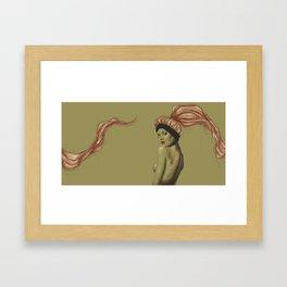Pastel pink hair girl Framed Art Print