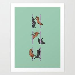 Dachshund Pole Dancing Club Art Print